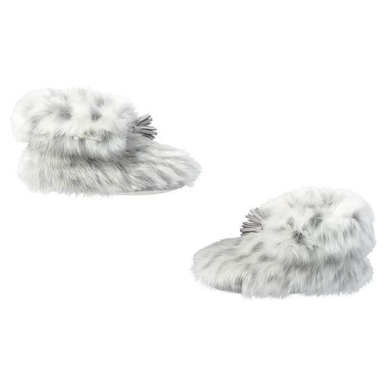Gray Leopard Ankle Tassel Faux Fur Booties Pbteen