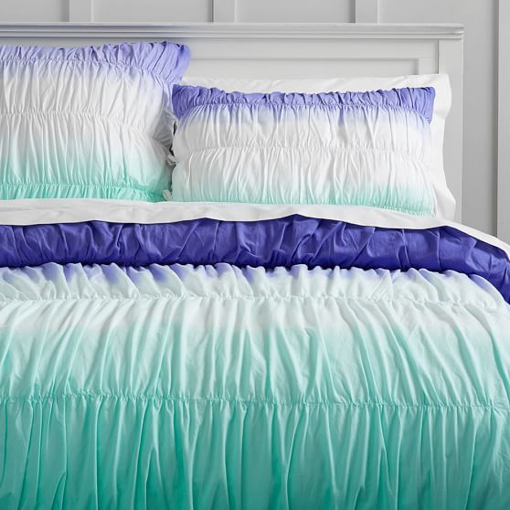 Surf Dip Dye Ruched Duvet Cover, Twin, Blue/Pool