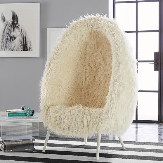 Ivory furlicious faux fur cave chair pbteen for Kids fluffy chair