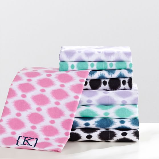 Ikat Dot Sheet Set, Twin/Twin XL, Bright Pink