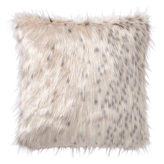 """Faux-Fur Pillow Cover, 18 x 18"""", Snow Cat"""