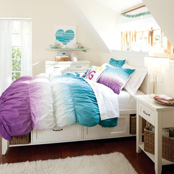 Pbteen Room Designer Pottery Barn Teen Girls Bedroom Pb: Dip Dye Ruched Duvet Cover + Sham