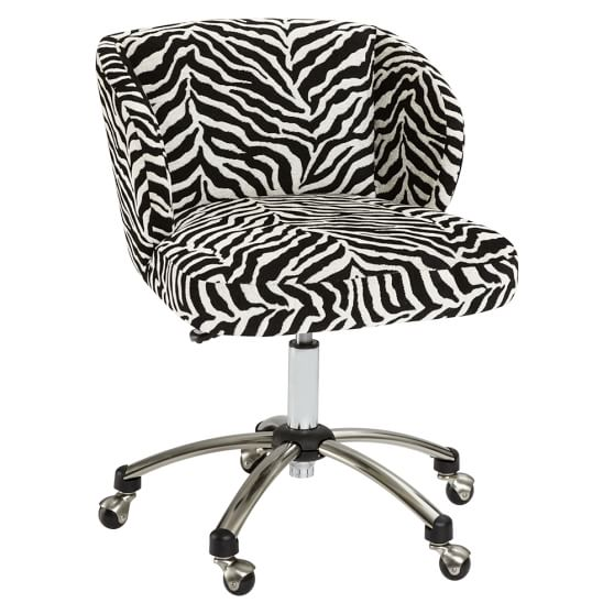 Zebra Jacquard Wingback Desk Chair