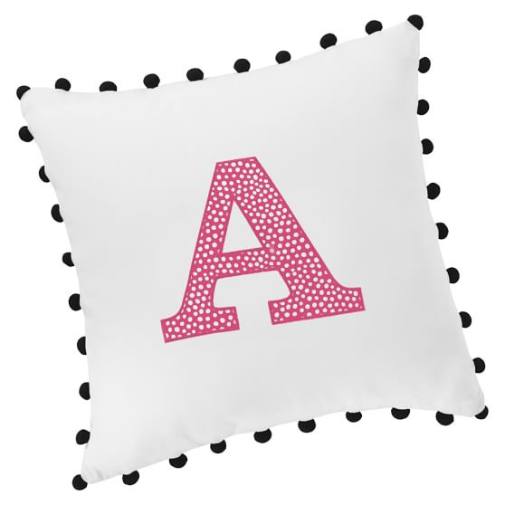 Color Pop Applique Pillow Cover, Black With Pink Magenta Mini Dot Applique