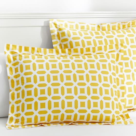 Peyton Duvet Cover, Standard Sham, Yellow