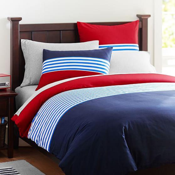 Nantucket Stripe Duvet Cover, Full/Queen, Navy/Red