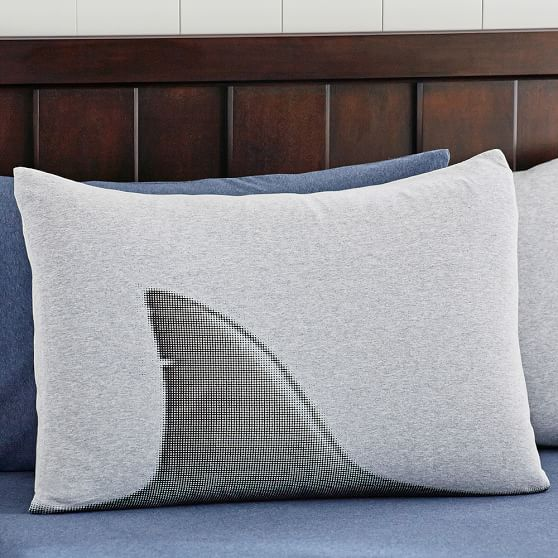 Shark Tee Standard Sham, Heathered Gray