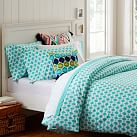 Ikat Dot Organic Duvet Cover, Full/Queen, Pool