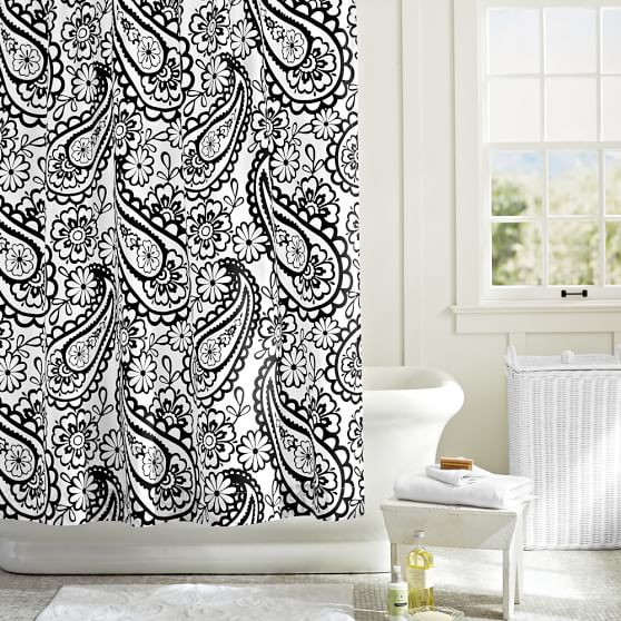 Garden Paisley Shower Curtain, Black