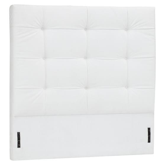 Upholstered Velvet Headboard, Twin, Bella White