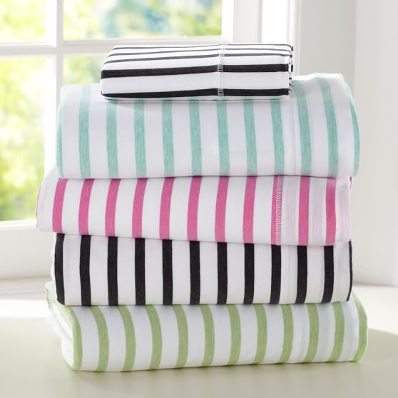 Simple Stripe Favorite Tee Sheet Set, Full, Black/White