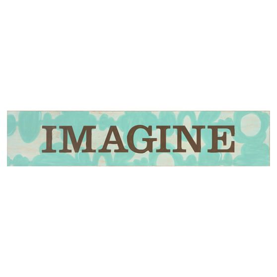 Word Plaque, Imagine, Blue/Brown