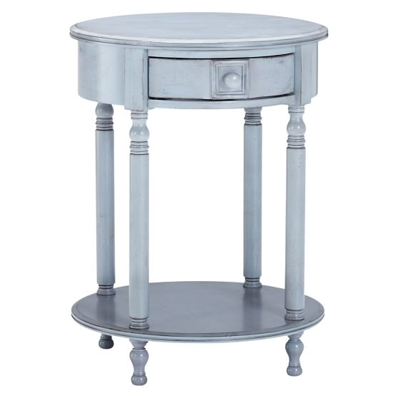 Eclectic Bedside Table, Blue Gray