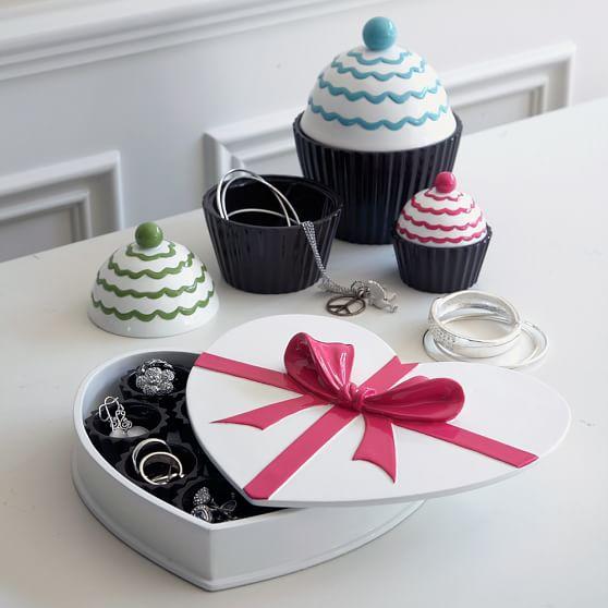 Sweet Treat Jewelry Storage, Chocolate Box, White/Pink