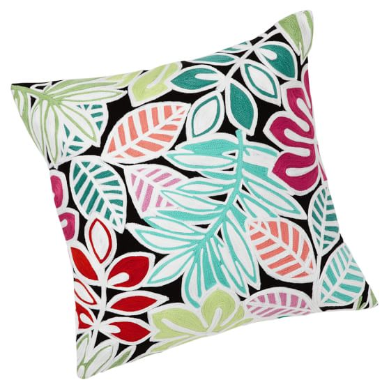 Surf Crewel Pillow Cover, 18x18, Palmilla