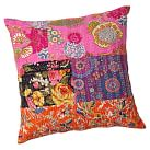 Kantha Cloth Coverlet Sham, Euro, Warm