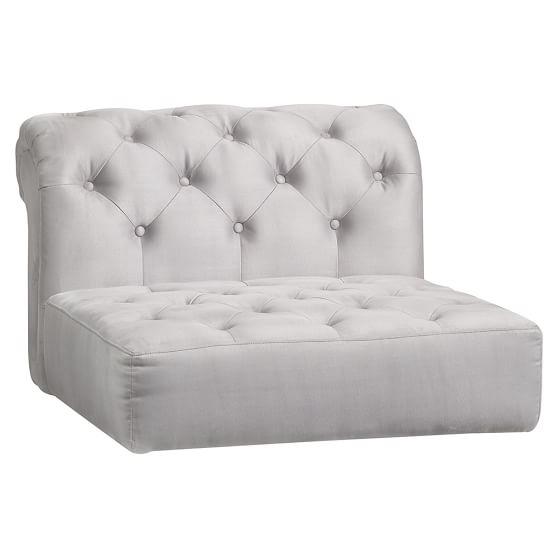 Roll Arm Cushy Sectional, Armless Chair Cushion, Gray