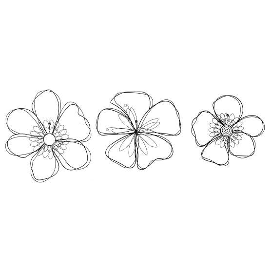 Wire Icon Art, Flower, Set of 3