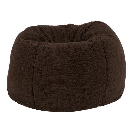 Sherpa Fleece Chocolate Beanbag, Slipcover + Beanbag Insert, Small