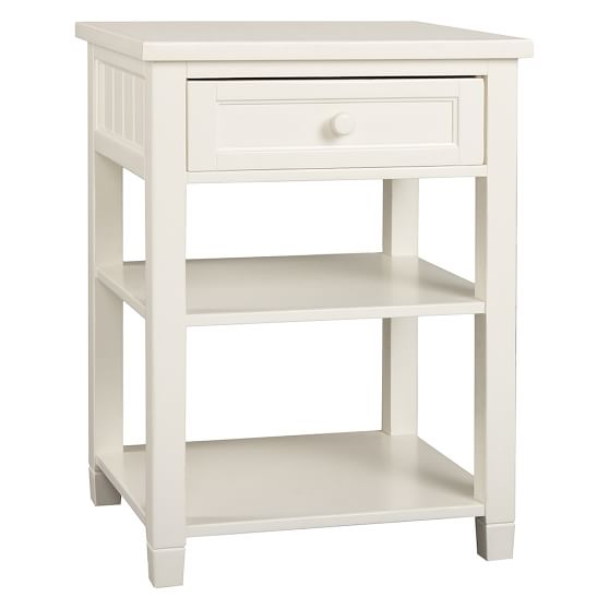 Beadboard Bedside Table, White