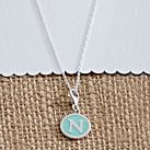 Pop Color Initial Charm Necklace, Pool, A