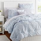 Ruched Rosette Quilt, Twin, Frost Blue