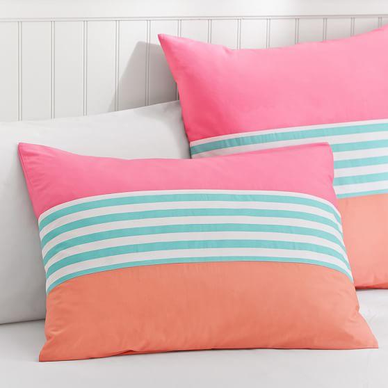 Nantucket Stripe Standard Sham, Pink/Pool/Coral