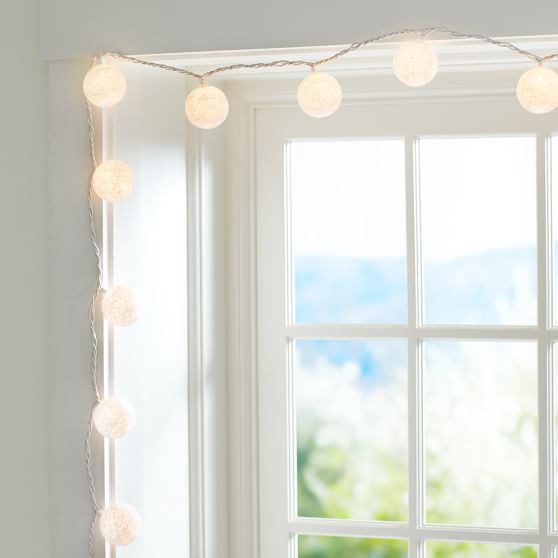 Woven Globe String Lights, White