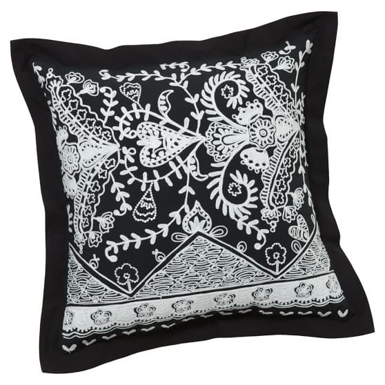 Natalia Pillow Cover, 18x18, Black