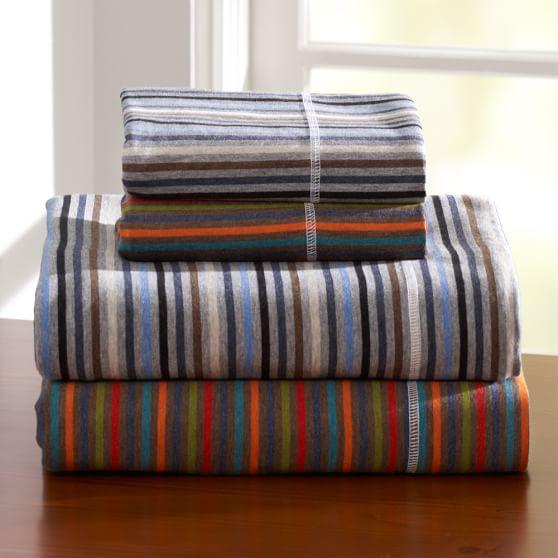 Stripe Favorite Tee Sheet Set, Twin/Twin XL, Gray/Blue