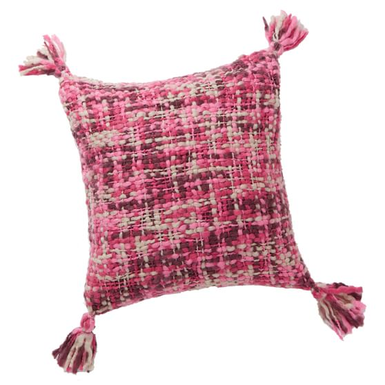Chunky Knit Pillow Cover, 18x18, Pink Multi