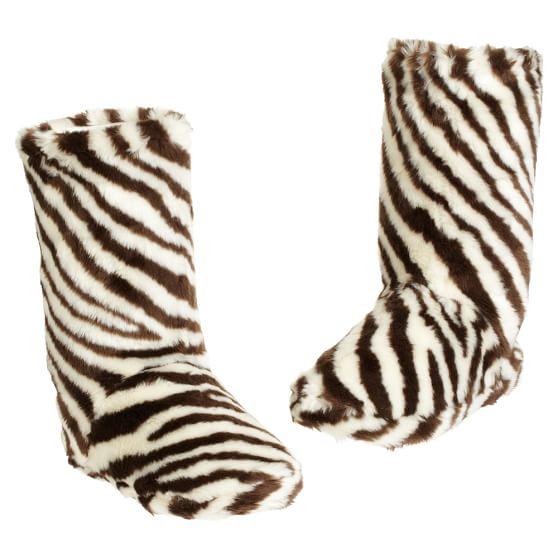 Furry Booties - Zebra, Small