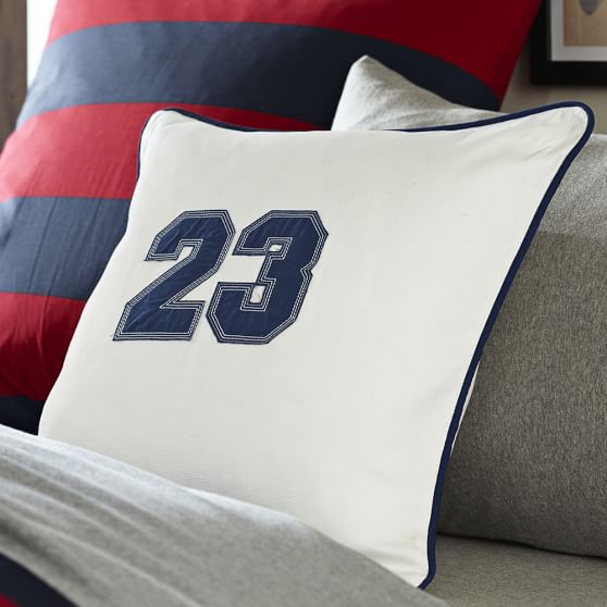 Varsity Applique Pillow Cover, Navy Applique Numbers