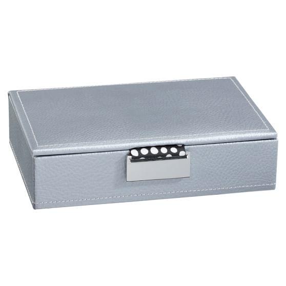 Small Preppy Bonded Leather Jewelry Storage, Silver