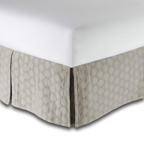 Big Dot Matelasse Bed-Skirt, Full, Warm Gray