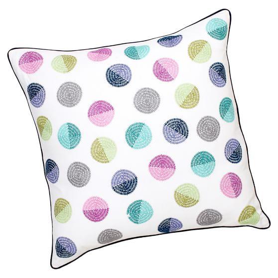Confetti Dot Decorator Crewel Surf Pillow Cover, Cool