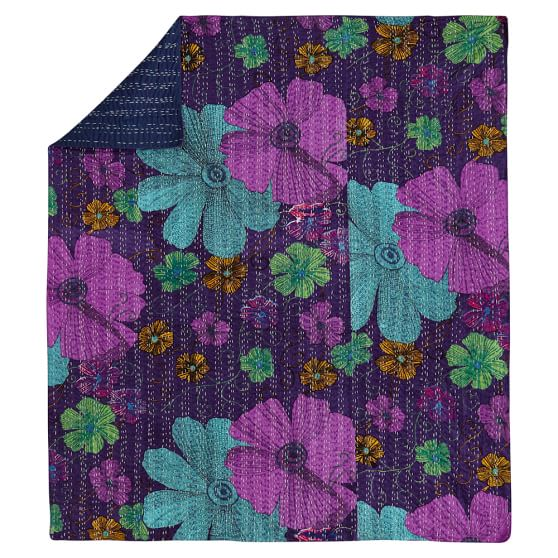 Kantha Cloth Coverlet, Purple Multi