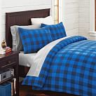 Fleece Duvet Cover, Twin, Buffalo Check Navy