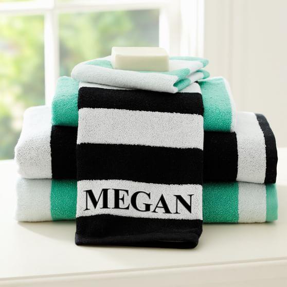 Cottage Stripe Washcloth, Pool