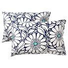 Daisy Dot Extra Pillowcases, Set of 2, Poo/Navy