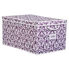 Printed Canvas Bin, Large Underbed, Set of 2, Plum Damask