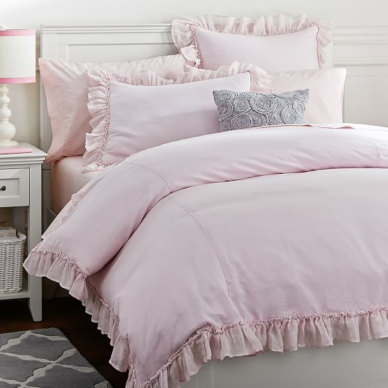 Linen Lux Duvet Cover, Twin, Blush