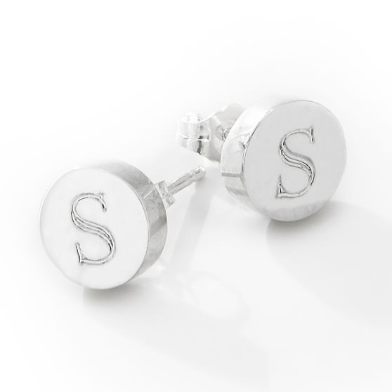 Sarah Chloe Monogram Stud Earrings, Silver