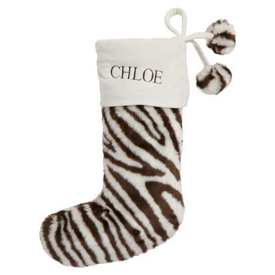 Faux Fur Stocking, Zebra Brown