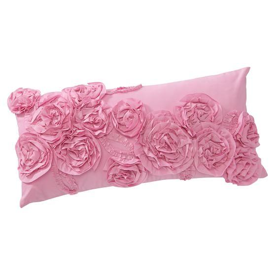 Ruffle & Rose Lumbar Pillow Cover, 12''x24'', Light Pink