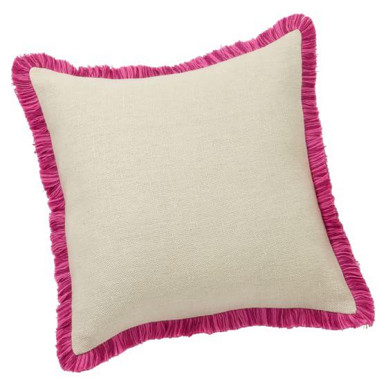 Grain Sack Fringe Pillow Cover, Pink, 16x16