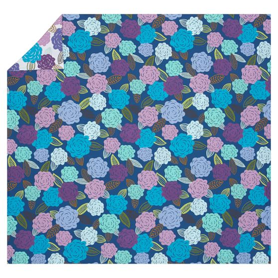 Chloe Floral Organic Duvet Cover, Twin, Blue Multi