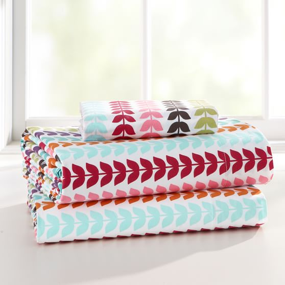 De-Vine Organic Sheet Set, Twin/Twin XL, White Multi