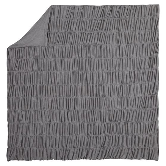 Ruched Jersey Duvet Cover, Twin, Heathered Gray