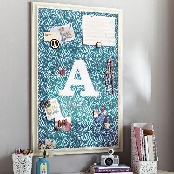 Sea Blue + White Framed Vertical Pinboard